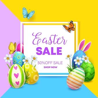Cartaz de venda de páscoa com ovos e coelho