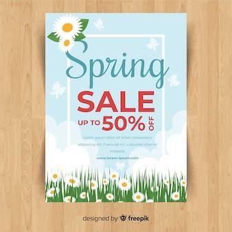 Cartaz de venda de primavera de campo de flor