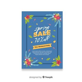 Cartaz de venda de primavera de cantos florais