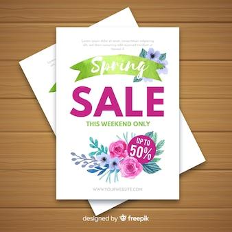 Cartaz de venda de primavera de flores em aquarela