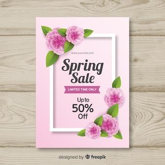 Cartaz de venda de primavera de flores realistas