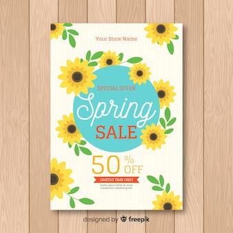Cartaz de venda de primavera de girassol