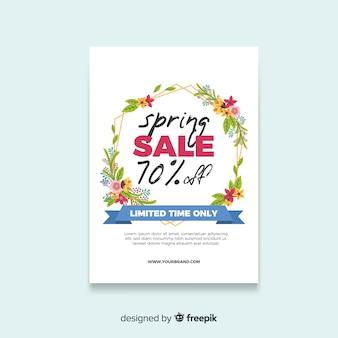 Cartaz de venda de primavera de moldura floral