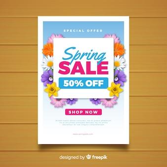 Cartaz de venda de primavera floral realista