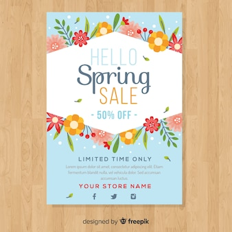 Cartaz de venda de primavera plana