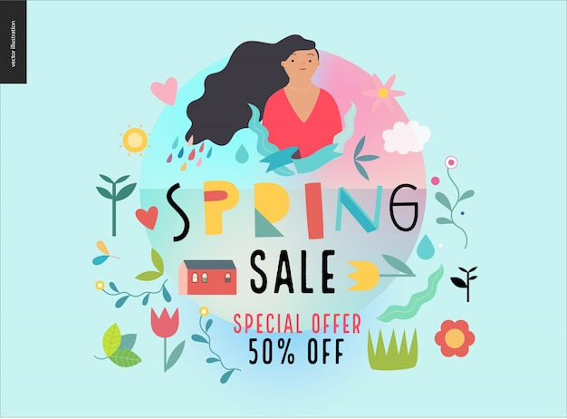 Cartaz de venda de primavera