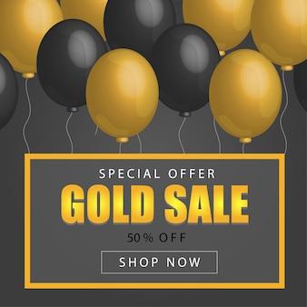 Cartaz de venda de sexta-feira negra com balões brilhantes em fundo escuro com letras douradas, glitter e moldura. ilustração vetorial. fundo preto de venda.