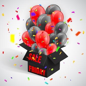 Cartaz de venda de sexta-feira negra com confete e bando de balões brilhantes escuros voando da caixa preta aberta.