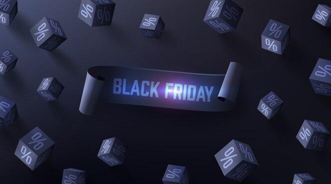 Cartaz de venda de sexta-feira negra com cubos 3d pretos de porcentagens em fundo escuro para varejo, compras ou promoção de sexta-feira negra em estilo preto.