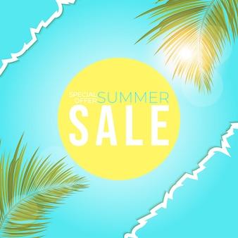 Cartaz de venda de verão com banner de folhas de palma para promoção