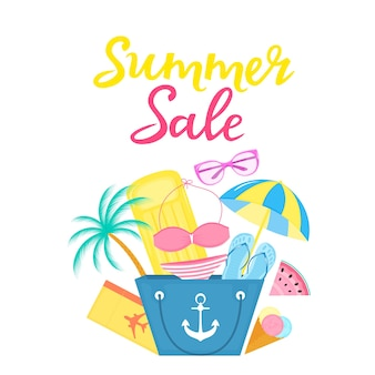 Cartaz de venda de verão com bolsa de praia, colchão de ar, sorvete, guarda-sol, maiô, passagem de avião, óculos de sol.