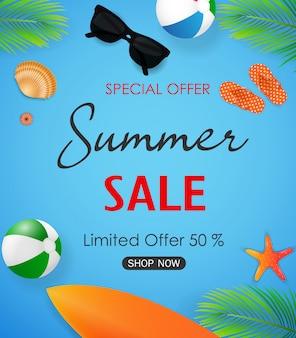 Cartaz de venda de verão com elementos de verão