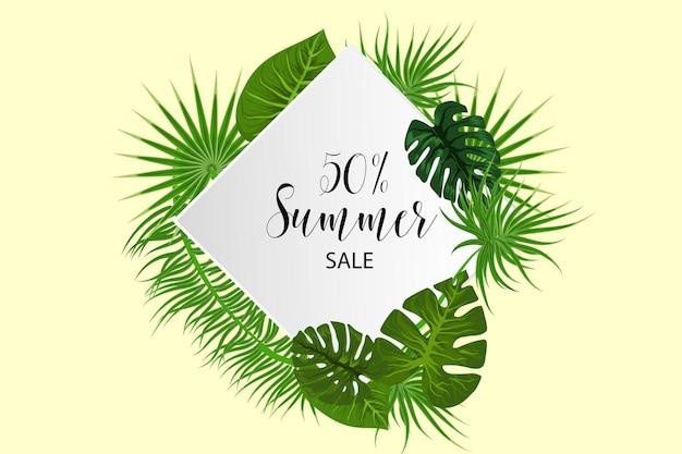 Cartaz de venda de verão fundo tropical vetor folha de palmeira árvore exótica da selva verde verão
