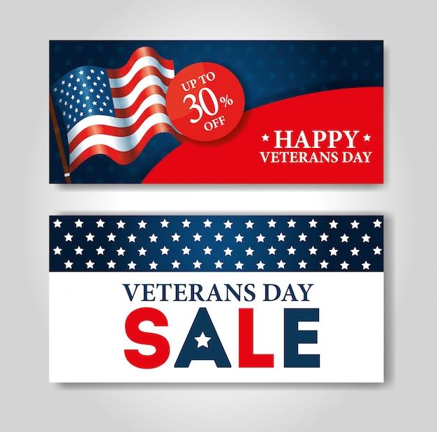 Cartaz de venda dia dos veteranos conjunto de banner de celebração