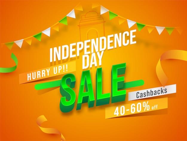 Cartaz de venda do dia da independência e fitas em fundo de açafrão.