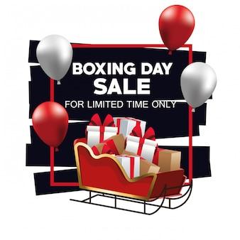 Cartaz de venda do dia de boxe com trenó do papai noel e balões de hélio vector design ilustração