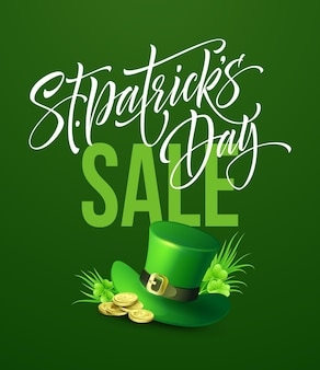 Cartaz de venda do dia de saint patricks. modelo de banner de rotulação. ilustração