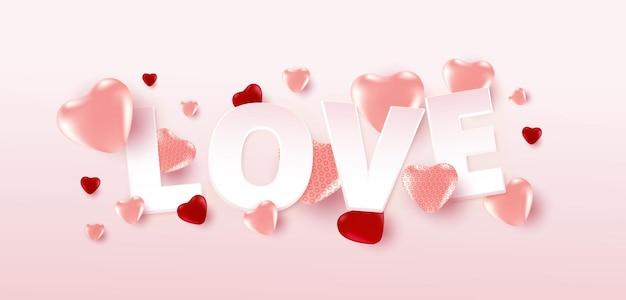 Cartaz de venda do dia dos namorados ou banner com muitos corações doces e texto de amor sobre fundo de cor rosa suave.