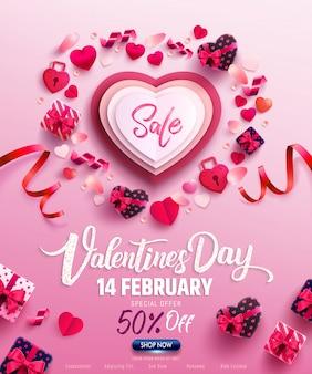 Cartaz de venda do dia dos namorados ou banner com presente doce, coração doce e itens adoráveis