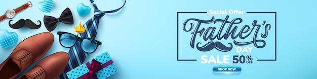 Cartaz de venda do dia dos pais com flatlay de óculos, gravata, relógio e presentes para o pai.