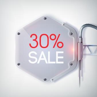 Cartaz de venda em cores modernas com porcentagem de descontos e coisa de metal no fundo cinza claro