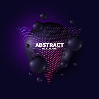 Cartaz de venda. gotas pretas no fundo. ilustração abstrata com formas tridimensionais.