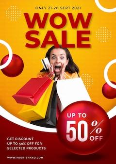 Cartaz de venda gradiente com foto