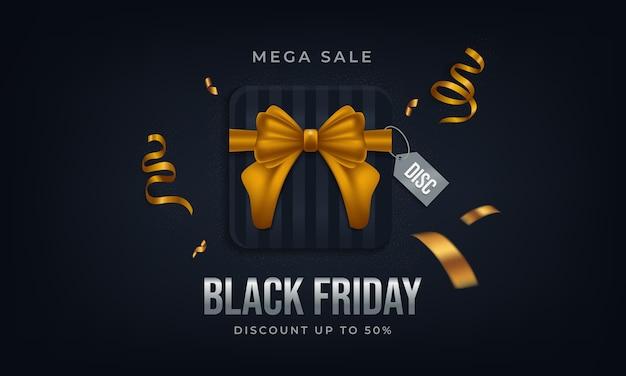 Cartaz de venda mega firday preto com caixa de presente e fita de ouro