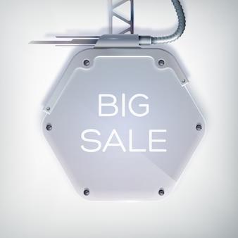 Cartaz de venda moderno com grande liquidação de palavras no outdoor hexagonal de metal e um suporte no fundo cinza
