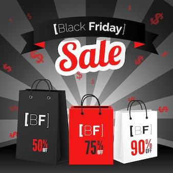 Cartaz de venda na sexta-feira negra com sacola de compras e fita