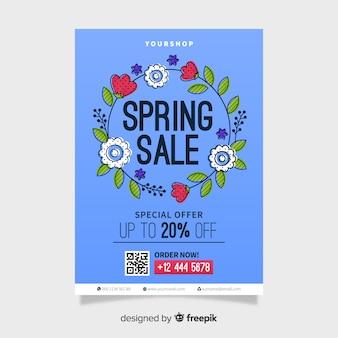 Cartaz de venda primavera grinalda floral
