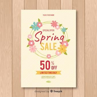 Cartaz de venda primavera grinalda plana