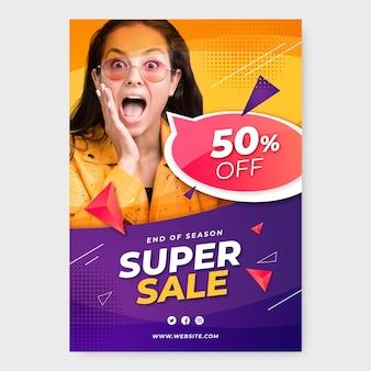 Cartaz de venda realista com foto