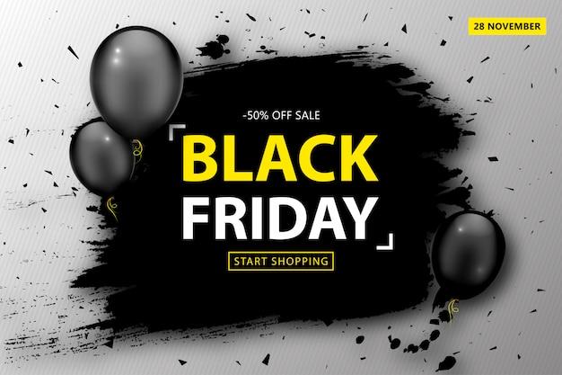 Cartaz de venda sexta-feira negra. banner de desconto com balões e moldura preta grunge