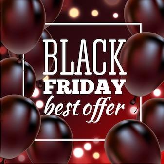 Cartaz de venda sexta-feira negra com balões brilhantes