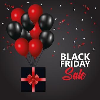 Cartaz de venda sexta-feira preta com balões de hélio e presente