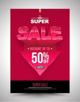 Cartaz de venda super desconto de até 50% com seta