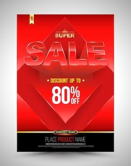 Cartaz de venda super modelo vermelho