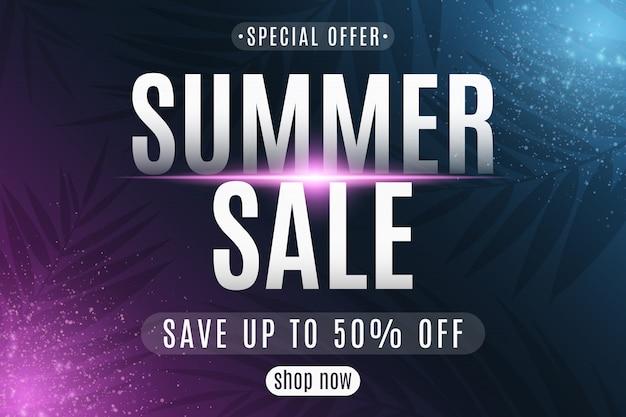 Cartaz de venda verão. cartão de felicitações letras em fundo escuro com partículas brilhantes de néon. modelo de oferta especial. ilustração