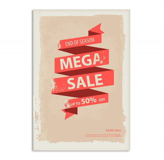 Cartaz de venda vintage, panfleto com banner de fita