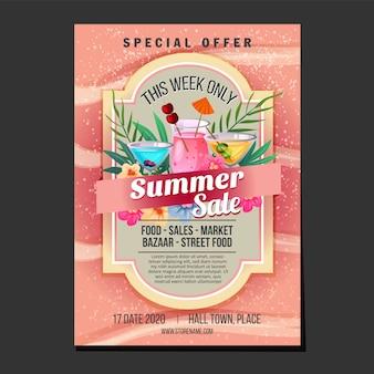 Cartaz de vendas de verão areia praia textura bebida cocktail tema ilustração