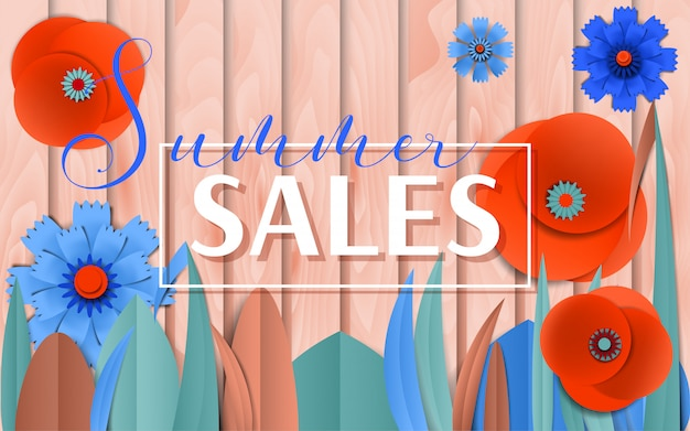 Cartaz de vendas de verão por flores de papel cortadas