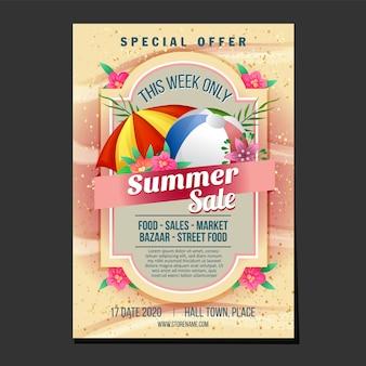 Cartaz de vendas de verão tema de textura de praia guarda-chuva de areia