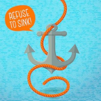 Cartaz de verão bonito - âncora náutica e corda, com balão para o seu texto.