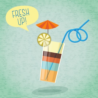 Cartaz de verão bonito - coquetel com guarda-chuva, limão e tubo, bolha do discurso para o seu texto.