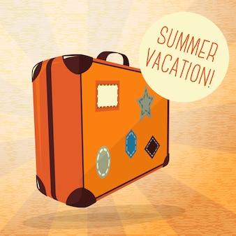 Cartaz de verão bonito - mala de viagem com etiquetas, balão para o seu texto.