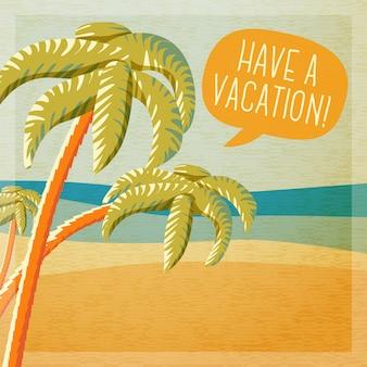 Cartaz de verão bonito - praia com palmeiras e oceano, balão para o seu texto.