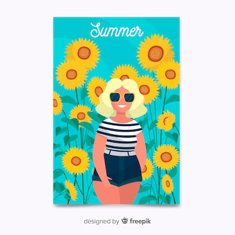 Cartaz de verão colorido desenhado a mão