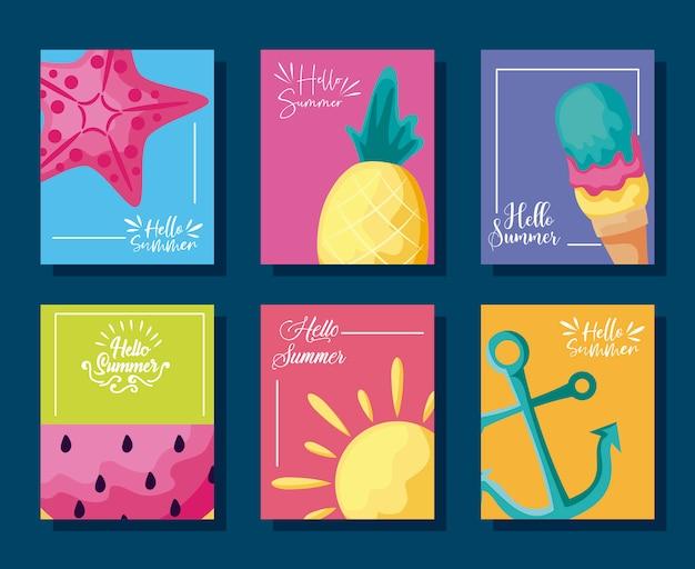 Cartaz de verão com abacaxi e ícones