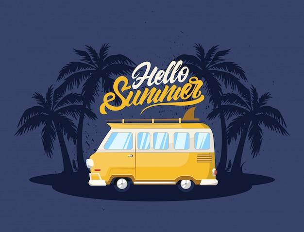 Cartaz de verão com carro e surf.